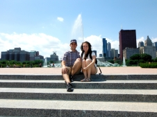 Taking in the views in front of Buckingham Fountain
