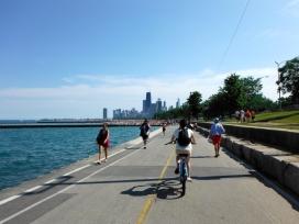 Biking along Lake Michigan