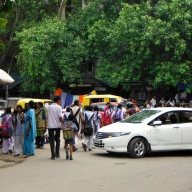 Car Going Into School Children