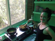 Welcome to Chez Amanda! AKA she learned how to light our stove so she could reheat our leftover Indian food...