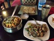 Our delicious feast of Aloo Ki Chaat, Paneer Tikka Pocket Parantha, and Nizami Subz Biryani! Soooo tasty!