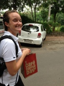 So excited to have my first coffee since arriving in India - and it came in a to-go bag!