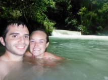Swimming in the chilly/refreshing water at Kuang Si Falls