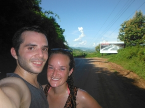 Super sweaty after biking up the biggest/final mountain on our way home