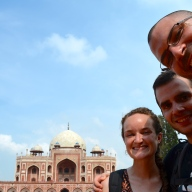 3 Happy Campers at Humayun's Tomb