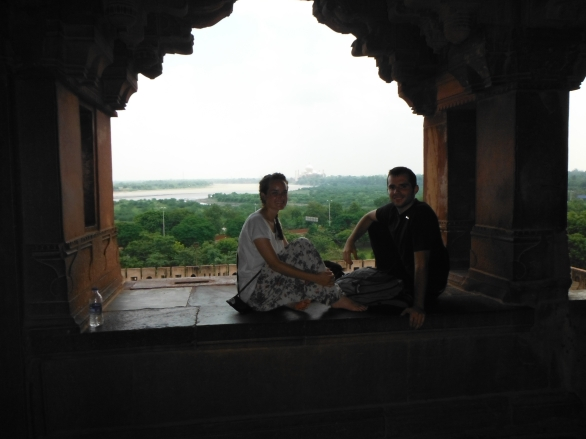 We sat on a window sill and enjoyed the breeze and the view of the Taj Mahal in the distance.