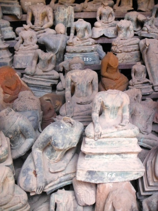 During the war times, the heads of these Buddha statues were removed by looters.