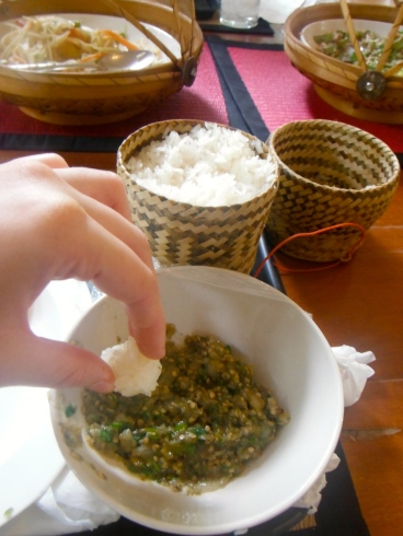 Amanda's delicious Lao eggplant dip! You roll a ball of sticky rice and dip away - so tasty!