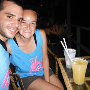 We earned ourselves some shirts from Fat Monkey - all we had to do was take down some lao-style vodka.... not as easy as it sounds!