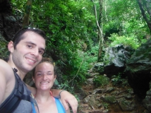 In the Middle of our 200m Ascent up to Pouk Ham Cave