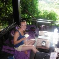Amanda at Dyen Sabai Restaurant for Dinner on the Nam Khan River
