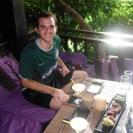 Adam at Dyen Sabai Restaurant for Dinner on the Nam Khan River