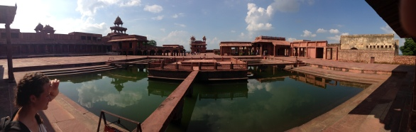 A panoramic view of Fatehpur Sikri. Anup talao (pond), the platform in the middle was used for singing competitions.