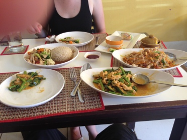 We hadn't eaten for over 15 hours straight so we decided to order this amazing feast: spring rolls, red curry, tomato jeow, glass noodle dish, and vegetable stir-fry...