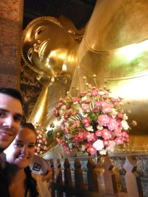 Wat Pho A.K.A. Temple of the Reclining Buddha houses a 15m high and 43m long reclining buddha