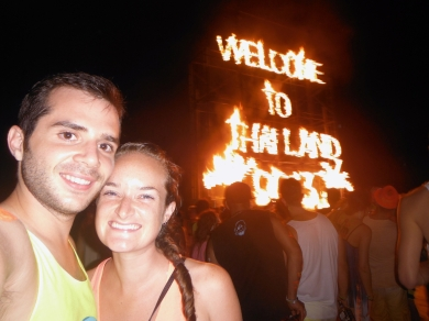 Flaming Welcome Sign at the Full Moon Party
