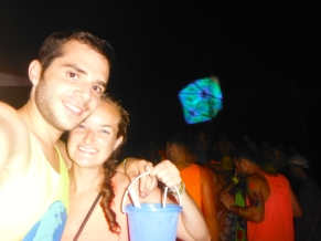 Enjoying our Beach Bucket at the Full Moon Party