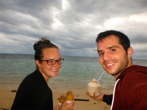 Enjoying Some Ice-Cream, Fresh Coconut, and the Sunset From Our 'Front Lawn'