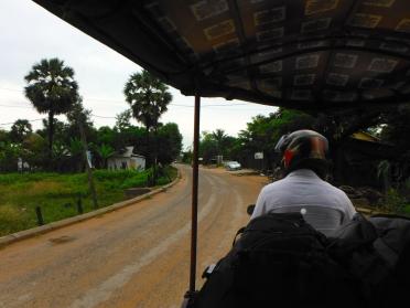 Motorbike Tuk Tuk Ride to Our Hotel Villa in Siem Reap, Cambodia