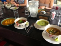 Curries: Panang Curry & Gang Kheow Wan Gai (green curry with chicken) Soups: Tom Yum Koong (hot and sour prawn soup) & Tom Sab (hot and sour soup in local style)