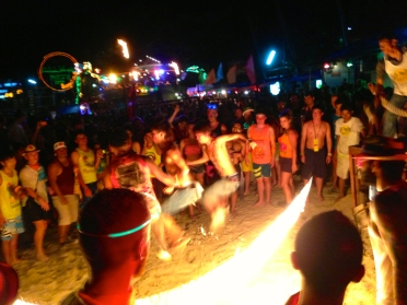 We stood back a safe distance to watch some 'brave' people jump rope with a flaming skipping rope!