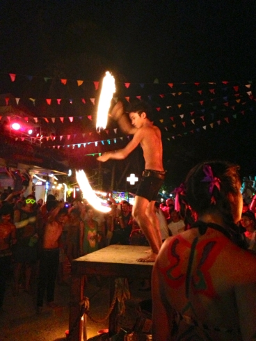 There were many beach performers twirling flaming batons - this guy was particularly talented!