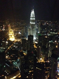 Profile View of the Petronas Towers From the Observation Deck of KL Tower