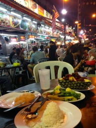 Fortunately our hotel concierge directed us to Jalan Alor (Street) where we could find local Malaysian/Asian Fusion dishes. Jalan Alor is a very busy street lined with tables, chairs, food stalls, and other vendors. Every night this street was bustling and its no wonder why because the food we had here was soooo delicious! Pictured here is pineapple spare ribs, stir fried vegetables with garlic, and steamed rice.
