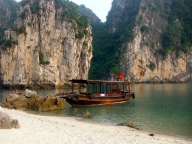 Our Shuttle Boat Docked at the Beach in Ha Long Bay