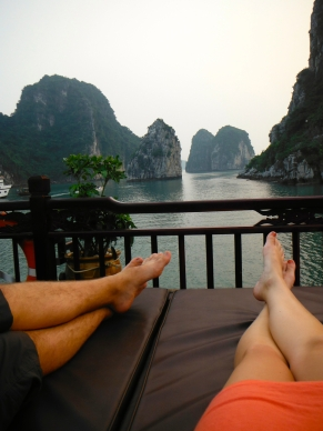 Enjoying the View of Ha Long Bay From the Top Deck of Our Junk Boat