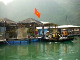 Floating House in the Fishing Village in Ha Long Bay